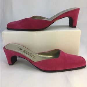Newport News Easy Style Pink Suede Mules 8.5M